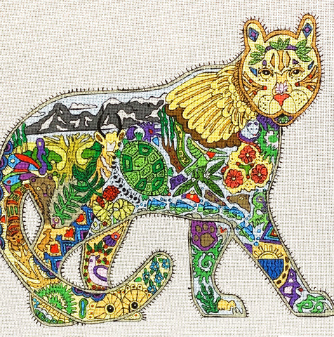 Needlepoint HandPainted DANJI Mountain Lion 13x11