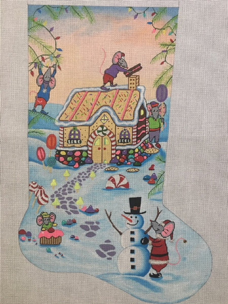 Needlepoint Handpainted Danji CHRISTMAS Stocking Mouse in Gingerbread House