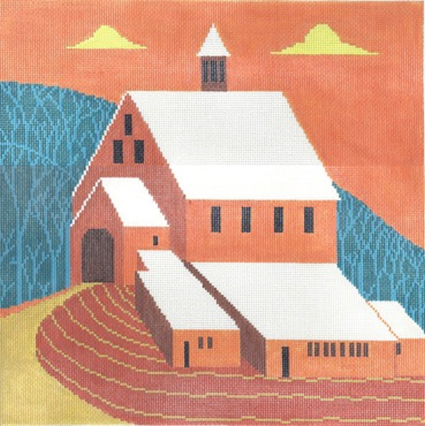 Needlepoint Handpainted Cooper Oaks Mr Pidgeons Barn 14x14
