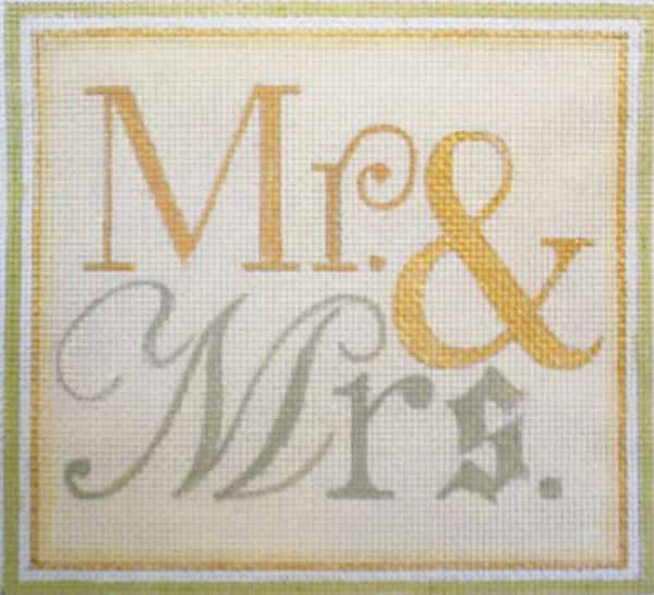 Needlepoint Handpainted Raymond Crawford Wedding MR AND MRS 5x6