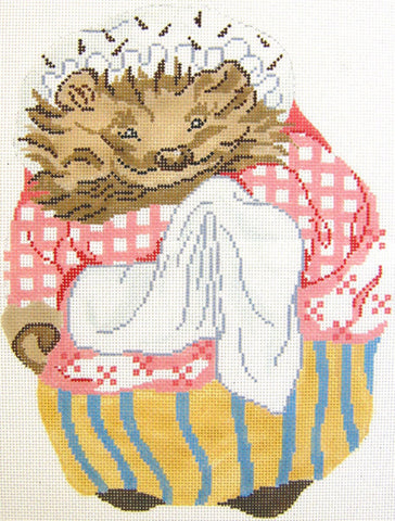 Needlepoint Handpainted Christmas Beatrix Potter Mrs Tiggy Winkle DOLL
