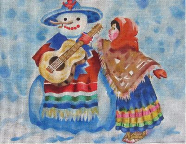 Needlepoint Handpainted Sundance Designs Musical Snowman 10x8