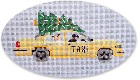 Needlepoint Handpainted CBK Christmas NYC Taxi with TREE Ornament
