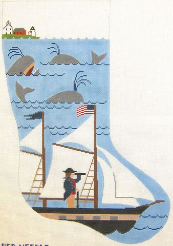 Needlepoint Handpainted Christmas Stocking NANTUCKET Captain