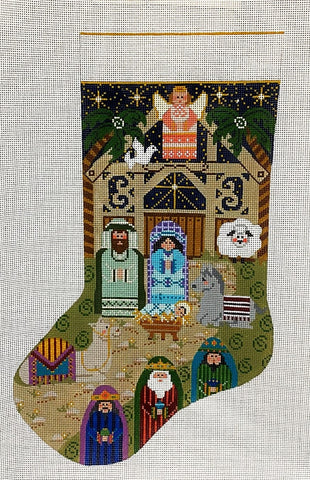 Needlepoint Handpainted Danji Christmas Stocking Nativity 17""