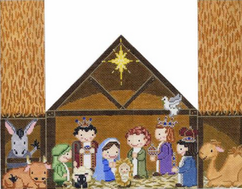 NEEDLEPOINT Handpainted NATIVITY Christmas Door Stop Starke Art 15x12