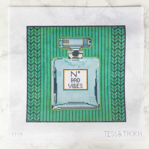 Needlepoint Handpainted Thorn Alexander NO Bad VIBES 12x12