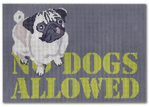Needlepoint Handpainted CBK No DOGS Allowed 10x7