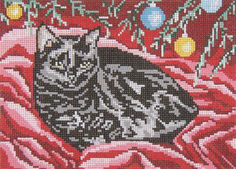 Needlepoint Handpainted Cat Needle Crossings Noel 9x7