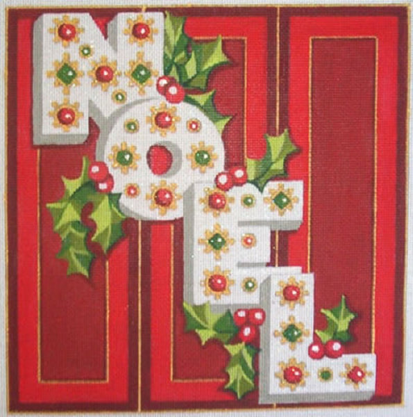 Needlepoint Handpainted Christmas Raymond Crawford NOEL 10x10