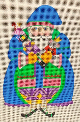 Needlepoint Handpainted CHRISTMAS Danji Nutcracker Santa 5x8