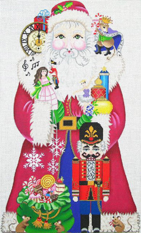 NEEDLEPOINT Handpainted Amanda Lawford CHRISTMAS Nutcracker Santa 15""