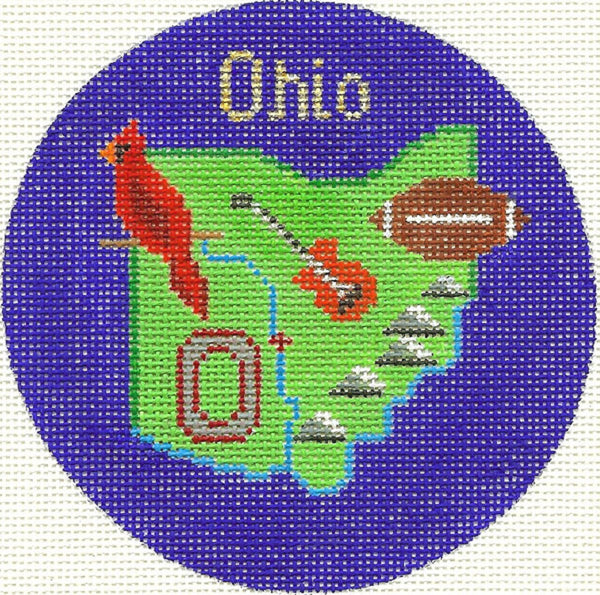 Needlepoint Handpainted Silver Needle OHIO Christmas Ornament