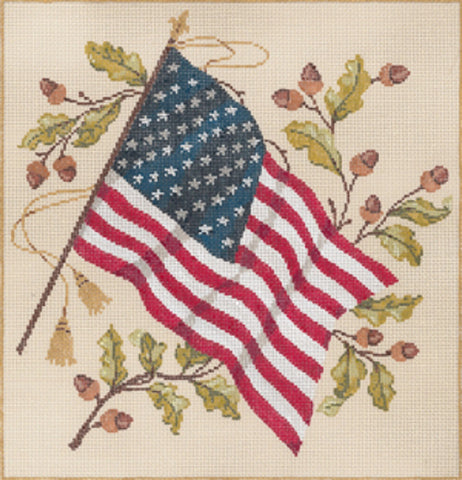 NEEDLEPOINT HANDPAINTED Canvas Sandra Gilmore AMERICAN Flag Old Glory 10x10