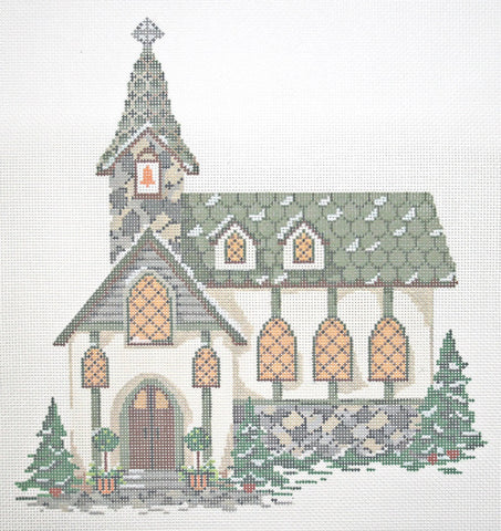 Needlepoint Handpainted KELLY CLARK Christmas Village Old Stone Church + SG