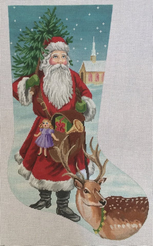 Needlepoint Handpainted Labors of Love CHRISTMAS Stocking Old World Santa 21""