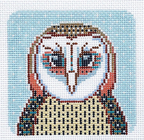 Needlepoint Handpainted Thorn Alexander Olivier the Owl 5x5
