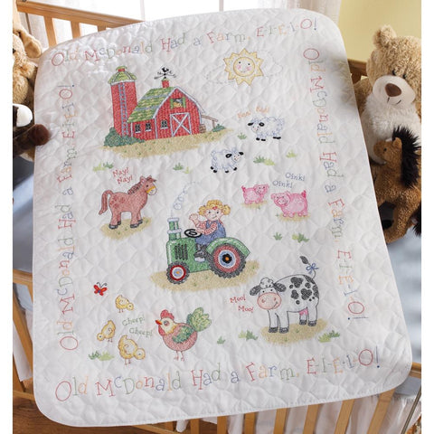 Cross Stitch Baby CRIB Cover KIT On the FARM Stamped Bucilla 34x43
