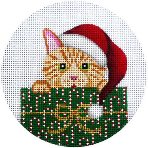NEEDLEPOINT HandPainted JP Needlepoint CHRISTMAS Cat Tabby in Package 4.5""