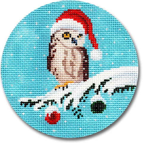 NEEDLEPOINT Handpainted CHRISTMAS Scott Church Owl Ornament 4""