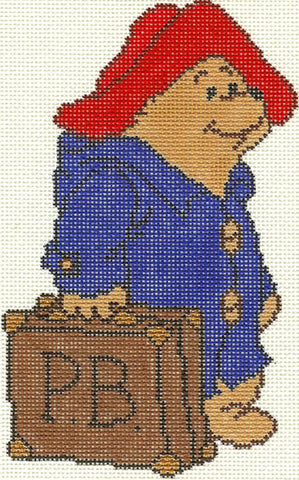 Needlepoint Handpainted Christmas PADDINGTON Bear Ornament 4x6