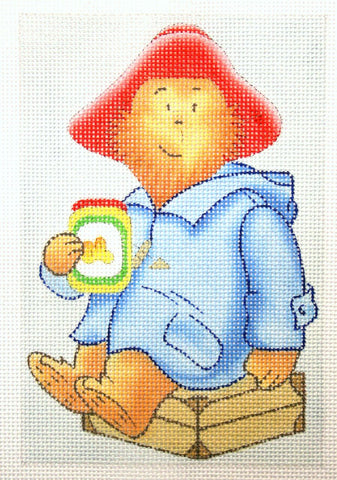 Needlepoint Handpainted Christmas PADDINGTON Marmalade 4x6
