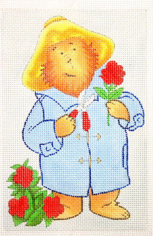 Needlepoint Handpainted Christmas PADDINGTON Roses 4x6