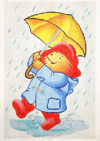 Needlepoint Handpainted Christmas PADDINGTON in Rain 4x6