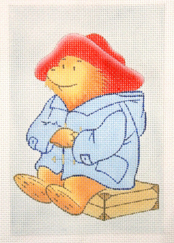 Needlepoint Handpainted Christmas PADDINGTON on Suitcase 4x6