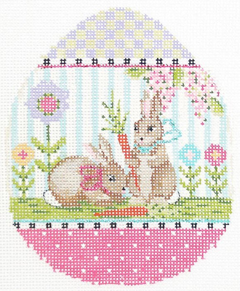 Needlepoint Handpainted Kelly Clark EASTER Egg Pair o Bunnies 4x5