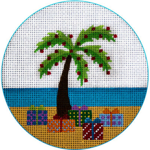 NEEDLEPOINT HandPainted JP Needlepoint CHRISTMAS Palm Tree and Packages 4.5""