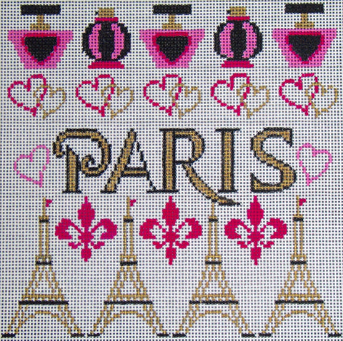 Needlepoint Handpainted Amanda Lawford Paris 8x8