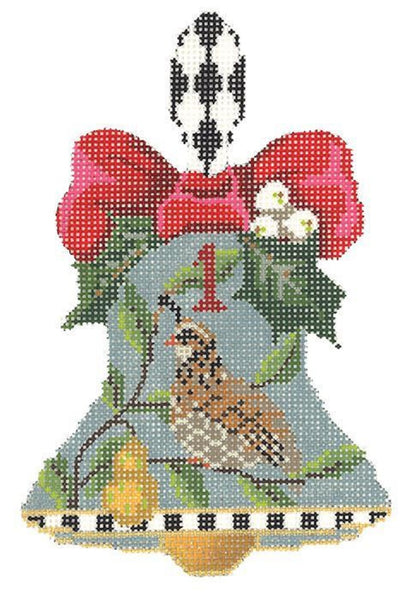 Needlepoint Handpainted CHRISTMAS Kelly Clark Bell Partridge in a Pear Tree