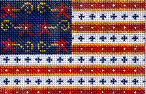 NEEDLEPOINT Handpainted CHRISTMAS Patriotic Flag Ornament USA Danji 2x4