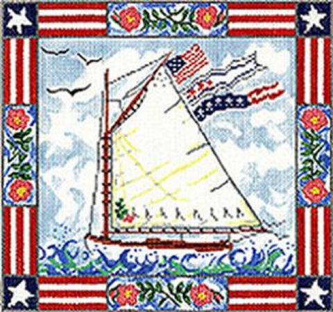 NEEDLEPOINT HandPainted Susan Wallace Barnes PATRIOTIC Sailboat