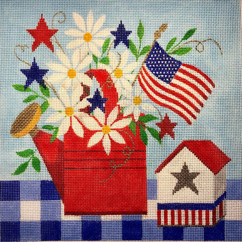 Needlepoint Handpainted Amanda Lawford Patriotic Tablescape 8x8