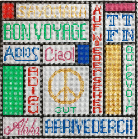 NEEDLEPOINT Handpainted Amanda Lawford PEACE Out 6x6
