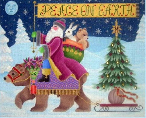 Needlepoint Handpainted CHRISTMAS Brenda Stofft Peace on Earth 12x9