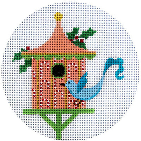 NEEDLEPOINT HandPainted JP Needlepoint CHRISTMAS Peach Birdhouse Ornament 4.5""