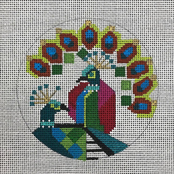 Needlepoint Handpainted CHRISTMAS Melissa Prince PEACOCKS Ornament Abstract 4""