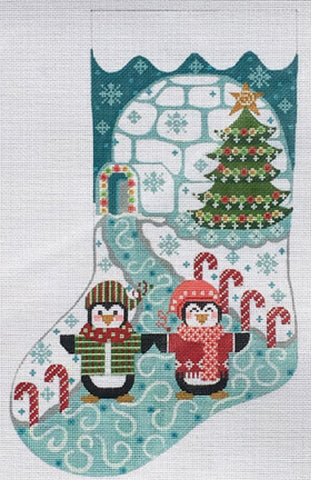 Needlepoint Handpainted Danji CHRISTMAS Penguin Stocking 16""