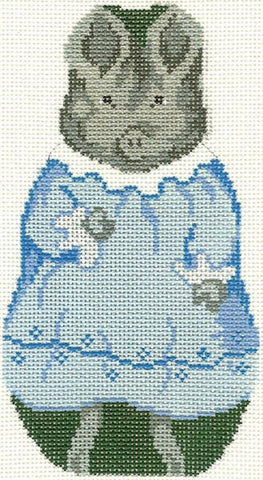 Needlepoint Handpainted Christmas Beatrix Potter PIG WIG 4x6