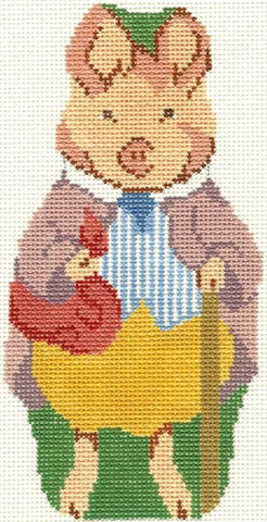 Needlepoint Handpainted Christmas Beatrix Potter PIGLING Bland Silver Needle 3x7