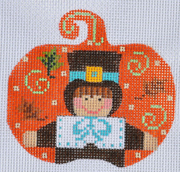 NEEDLEPOINT Handpainted Canvas THANKSGIVING Pumpkin Pilgrim BOY Danji 3x3
