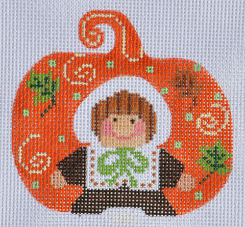 NEEDLEPOINT Handpainted Canvas THANKSGIVING Pumpkin Pilgrim Girl Danji 3x3