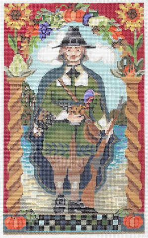 Needlepoint Handpainted KELLY CLARK Thanksgiving Pilgrim w/STITCH Guide