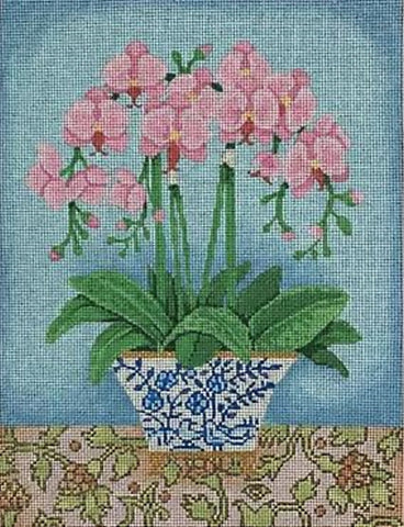 Needlepoint Handpainted Brenda Stofft Pink Orchids Blue Planter 10x13