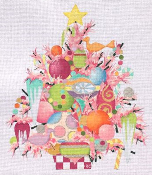NEEDLEPOINT Handpainted Raymond Crawford PINK Flocked Tree 15""