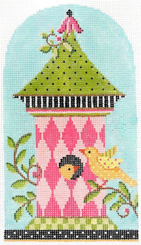 Needlepoint Handpainted Kelly Clark BIRDHOUSE Pink Harlequin 4x7