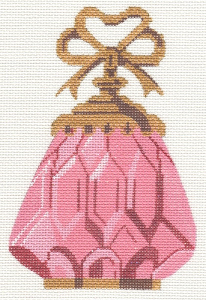 Needlepoint Handpainted Labors of Love Pink PERFUME Bottle 4x6